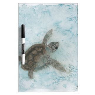 Peinture d'aquarelle de tortue tableau blanc effaçable à sec