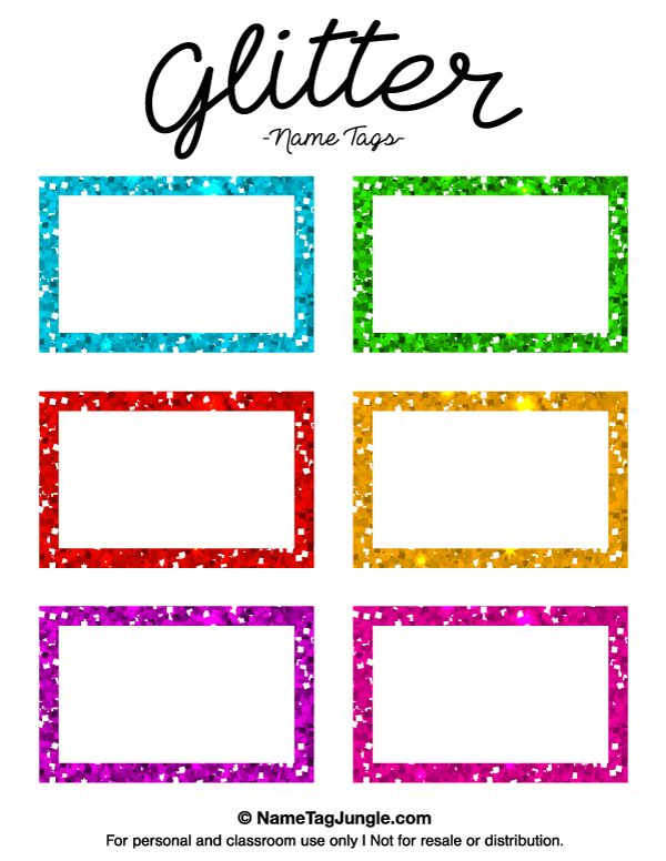 Free printable glitter name tags the template can also be for Free name badge template