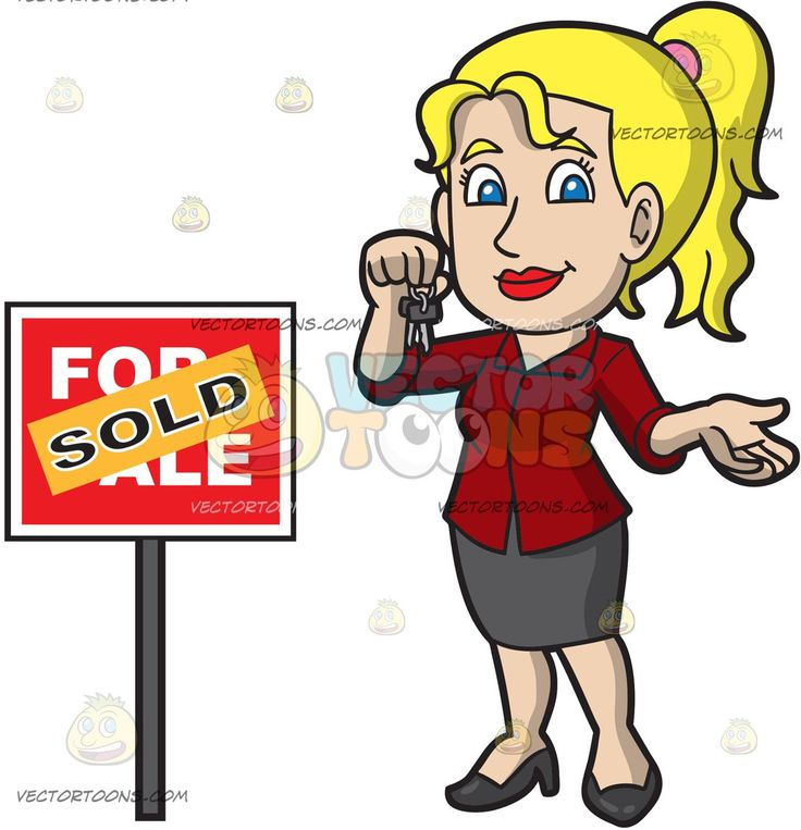 A Female Real Estate Agent Sealing A Property Deal:   A woman with blonde hair in wearing a red blouse gray skirt black heels smiles while holding two house keys in her right hand as she stands beside a red for sale sign that has an orange sold sticker plastered on it