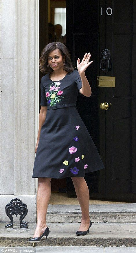 JUNE 2015 Michelle Obama leaving Number 10 Downing Street after meeting with British Prime Minister David Cameron and his wife Samantha