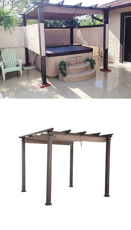 """Cool backyard idea: We love how Home Depot customer meatballmaker1 used his Hampton Bay pergola to create a """"hot tub garage."""" He added a privacy screen made of sun screen purchased at Home Depot. """"I folded the six foot wide roll in half and stretched it and stapled it to p/t 1"""" x 4."""" he writes. """"I also used tapcon screws to secure four concrete pads to add stability."""":"""