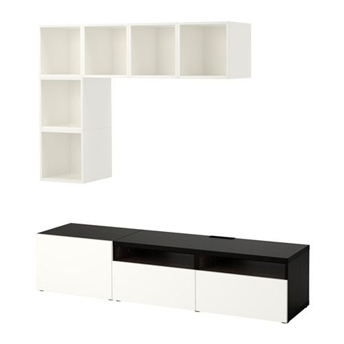 IKEA - BESTÅ / EKET, TV storage combination, white/black-brown/high-gloss/white, drawer runner, push-open, , It's easy to keep the cords from your TV and other devices out of sight but close at hand, as there are several cord outlets at the back of the TV bench.Large drawers make it easy to keep your things organized.With the push-opener you don't need knobs or handles and can open the door with a light push.