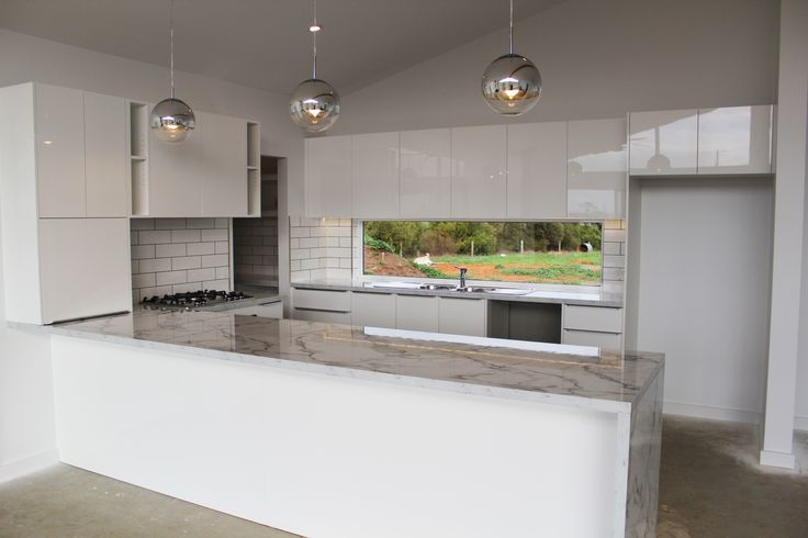 Benchtop - Laminex Carrera Marble Diamond Gloss Panels - Polytec Ultra White Createc
