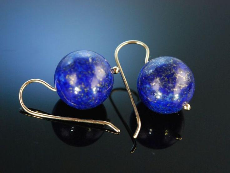 1001 Nacht! Ohrringe Gold 585 feinster Lapislazuli, blue gem stone earrings, feiner Edelstein Schmuck bei Die Halsbandaffaire