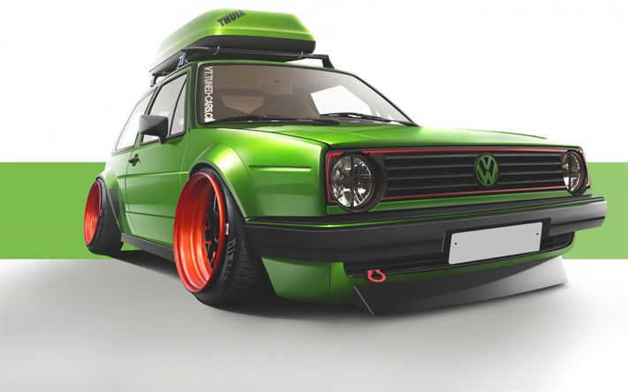 Download wallpapers Volkswagen Golf, mk2, tuning, stance, green Golf, VW, Volkswagen