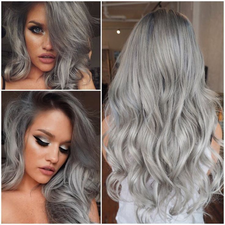 """""""@ssssamanthaa is a silver fox!  Thanks for trusting me to do whatever! Created a rooty slate to silver colour and finished with @bellamihair 20"""" silver…"""""""