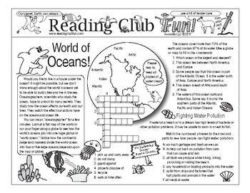WORLD OF OCEANS Two-Page Activity Set and Word Search Puzzle - the world's oceans, their underwater features and fighting water pollution are all highlighted in this puzzle set. Great for Earth Day too!