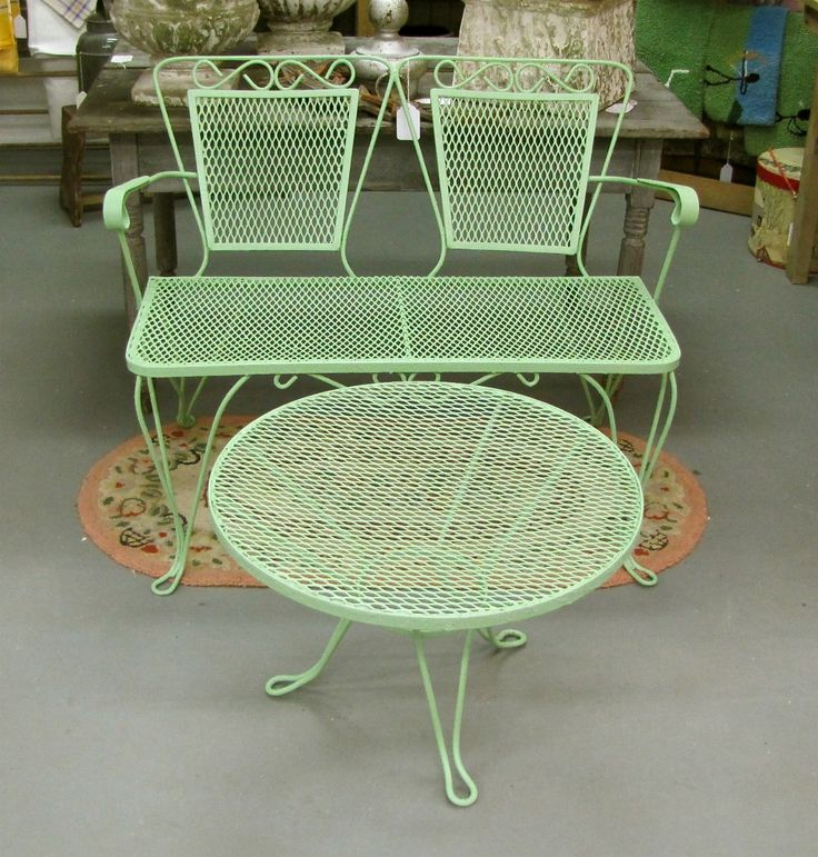 Vintage Metal Outdoor Table And Bench In Mint Green