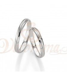 Βέρες γάμου λευκόχρυσες με διαμάντι breuning 4221-4222