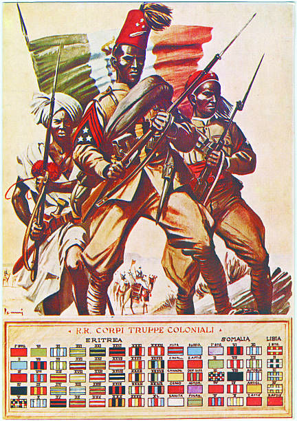 World War II. Italian post card showing three soldiers from the Italian colonies in Africa holding rifles. Below are the insignia of their units.