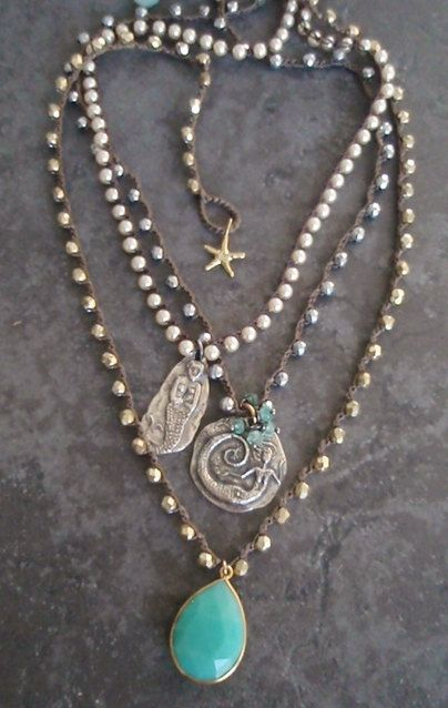 Sirena perla ganchillo collar corazón oculto por slashKnots
