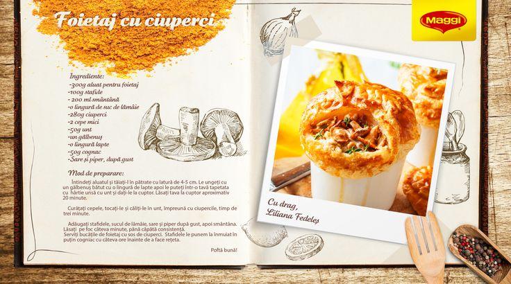 """Pastry with mushrooms // Foietaj cu ciuperci  Inspiratia culinara proaspat scoasa din cuptor vine din """"Prieteni de-ai casei"""" http://on.fb.me/1iHRrmk  Afla si mai multe retete savuroase pe https://www.maggi.ro/retete"""