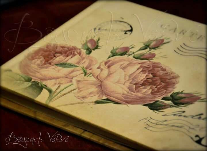 Vintage roses guestbook carte postale postcard - Wedding stationery