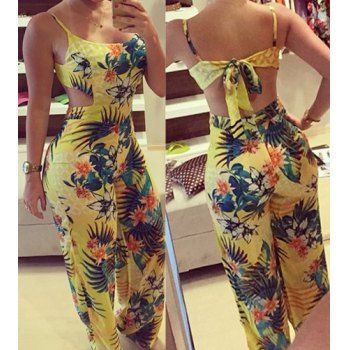 Fashionable Spaghetti Strap Floral Print Backless Jumpsuit For Women (YELLOW,XL) in Jumpsuits & Rompers | DressLily.com