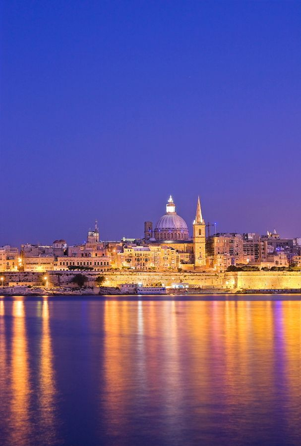 Valetta by night - Capital city of Malta