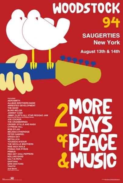 Woodstock 1994 Posters | WOODSTOCK '94 SAUGERTIES [W - 15 B] - $19.95 : Posters57.com, Your ...