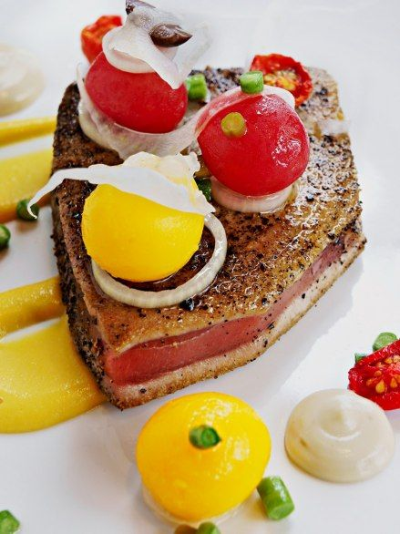 Prep for the match with the mouthwatering pepper-crusted tuna at Reuben's, located at the OneOnly Resort in Cape Town. After dinner, head inside the hotel for an unbeatable game-watching spot. Find more best places to watch the World Cup in South Africa: http://pin.it/LApZUmR