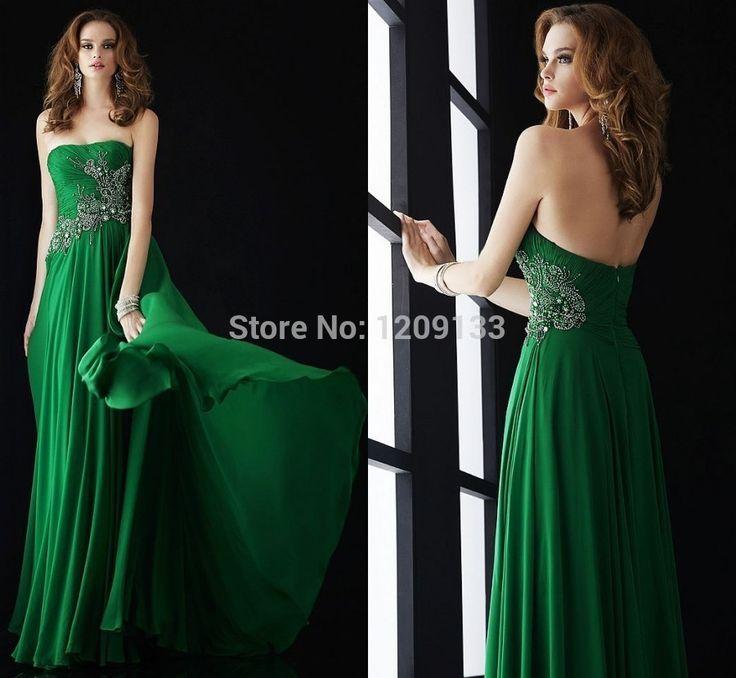 Вечерние платья vestido де феста лонго 2015 новых горячих и сексуальная спинки без бретелек длинное вечернее платье 2015 элегантные зеленые шифон