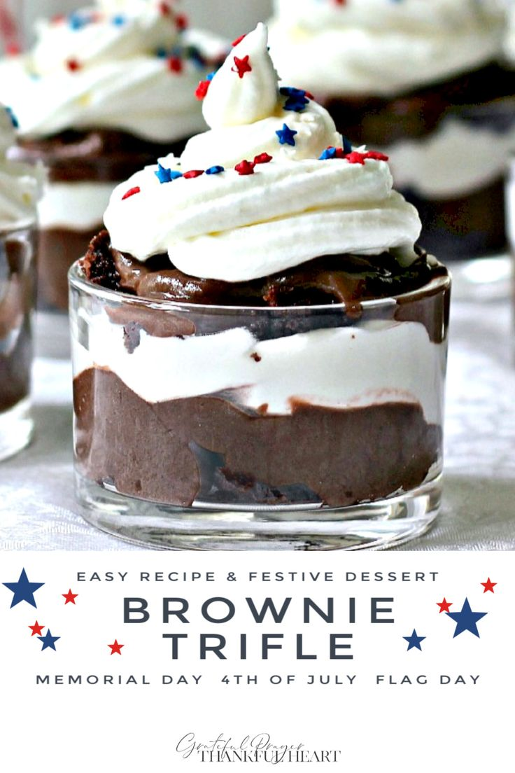 Top an easy chocolate brownie trifle parfait with chocolate pudding, whipped cream and colorful sprinkles for a patrioti…