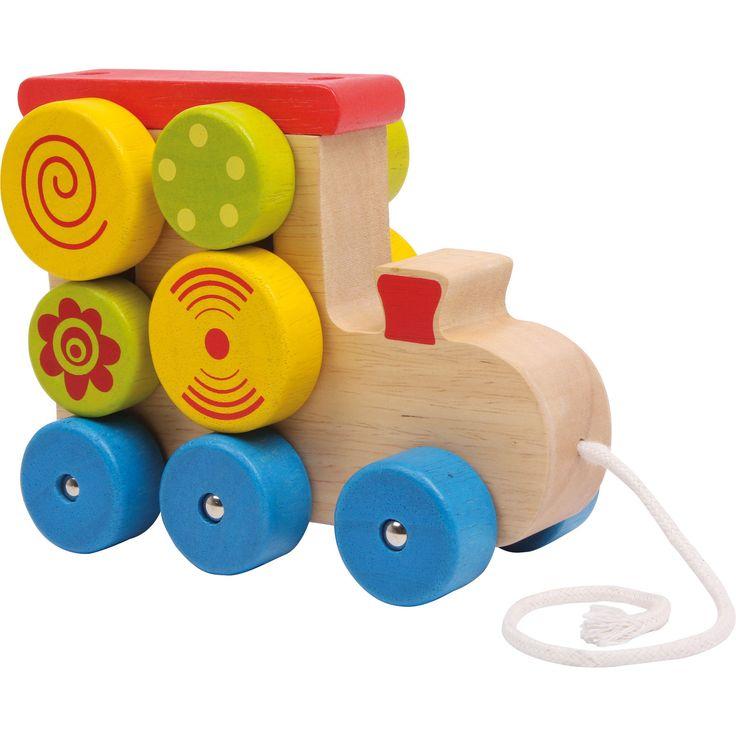 """Jucăria din lemn """"Locomotivă cu șnur"""" este realizată din lemn viu colorat. Micuțul tău va fi mai mult decât încântat de elementele rotative de pe locomotivă care se vor roti în timp ce locomotiva este în mișcare."""