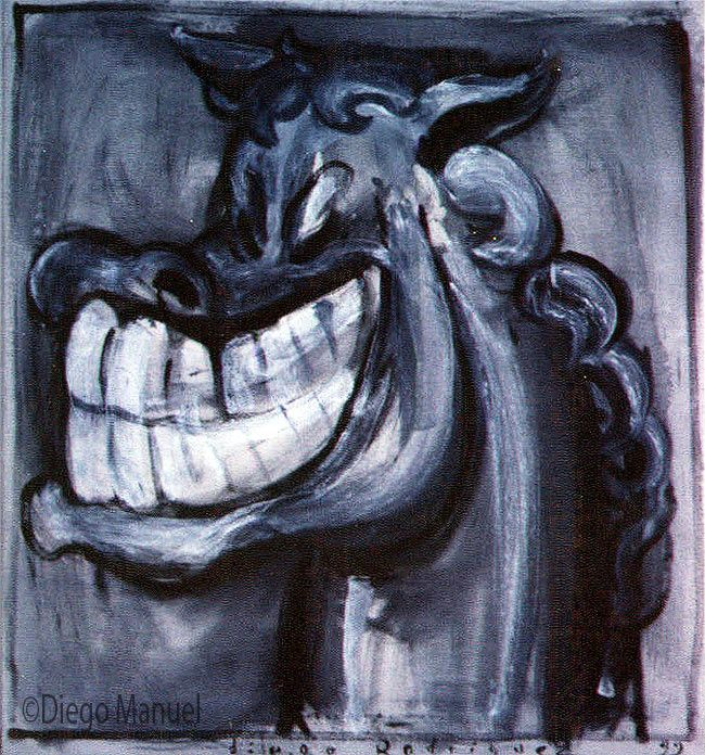 Painting titled Laughing Horse for sale, of the artist Diego Manuel. Pintura titulada risa de caballo en venta, del artista Diego Manuel