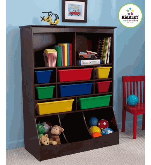 KidKraft Wall Storage Unit w/ Bins - Espresso