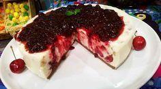 Torta de ricota y cerezas sin cocción, ideal para los calurosos días de las #Fiestas