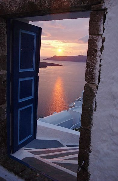 Sunset through a doorway - Santorini island, Greece. - Selected by www.oiamansion in Santorini.