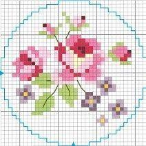 Pour ranger mes petites fleurs des petits pots de verre Pour les décorer de la broderie traditionnelle et des XX ... Je vous offre un des modèles trouvé je ne sais ou car il y a longtemps ??? BON WEEKEND A TOUS