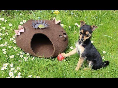 Filzanleitung: gefilzte Hundehütte / Katzenhöhle felting - YouTube