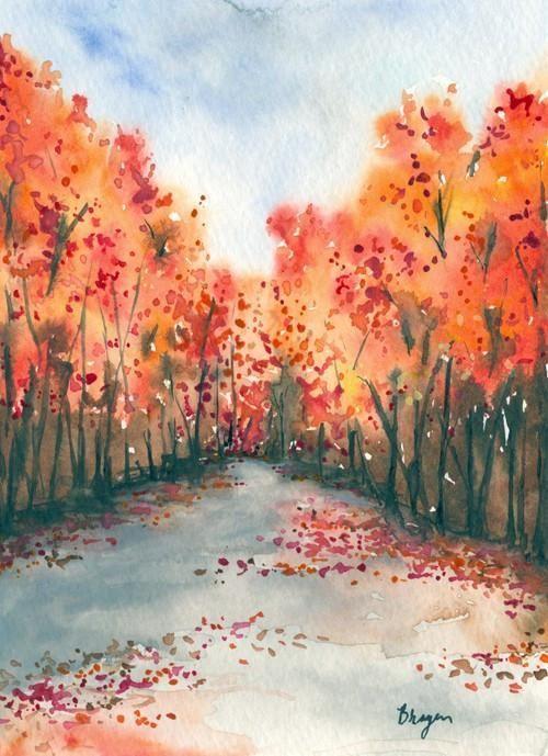 Watercolor Landscape Painting – Autumn Journey Fall Nature Landscape Woodland Scenic Art Print – Brazen Design Studio #LandscapeArtists .:. LANDSCAPE ON A BUDGET .:.