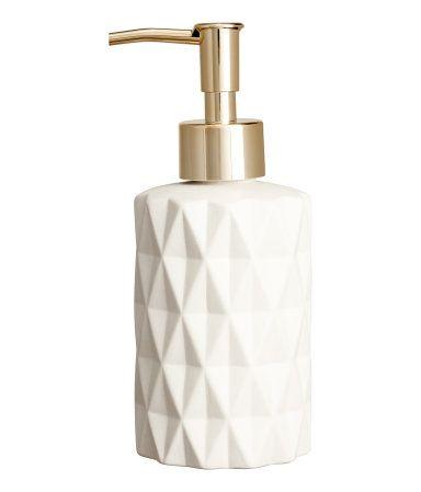 Seifenspender aus Steingut | Weiß/Goldfarben | H&M HOME | H&M DE