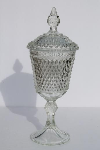 Huge Vintage Gl Apothecary Jar Candy Dish W Lid Indiana Diamond Point Decor With Cut Crystal Pinterest Jars
