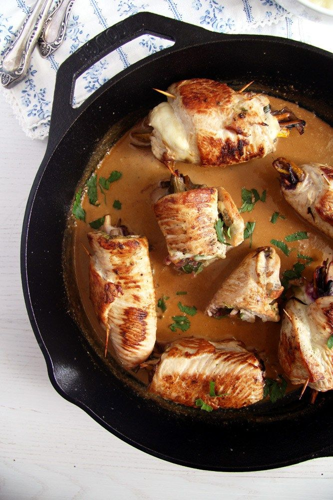 turkey rolls sauce Skillet Turkey Rolls Stuffed with Cheese and Vegetables
