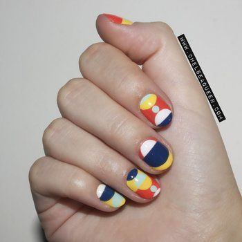 Nail art inspired by textiles of Marimekko. Pop color is nice.