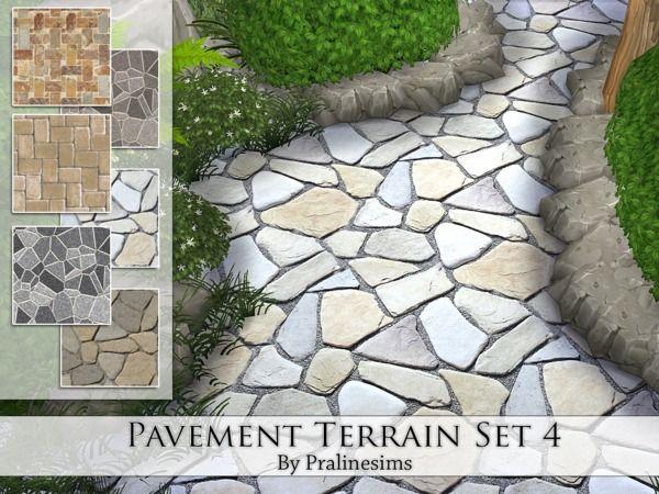 Pavement Terrain Set 4 by Pralinesims at TSR via Sims 4 Updates