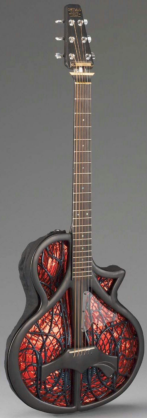 frettedchordophones:  Chrysalis Guitar Co. Inc; Designed by Tim White & Steven B Mosher   =Lardys Chordophone of the day - a year ago --- https://www.pinterest.com/lardyfatboy/