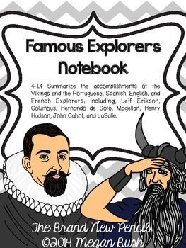 4-1.4 Summarize the accomplishments of the Vikings and the Portuguese, Spanish, English, and French Explorers; including, Leif Erikson, Columbus, Hernando de Soto, Magellan, Henry Hudson, John Cabot, and LaSalle.Instead of having your students use a chart/matrix, have them collect their information in a mini notebook.