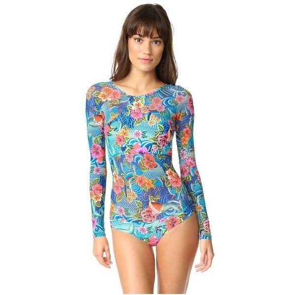 Luli Fama Inked Babe Rash Guard ($195) ❤ liked on Polyvore featuring swimwear, multi, luli fama, rash guard swimwear, rashguard swimwear and luli fama swimwear