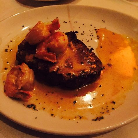 FILET with SHRIMP DIABLO Fleming's Prime Steakhouse Recipe BBQ Butter: 4 ounces butter lightly salted 1/2 teaspoon black pep...