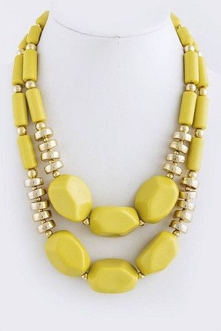 Double Strand Chunky Stone Necklace - Yellow | .H.C.B.