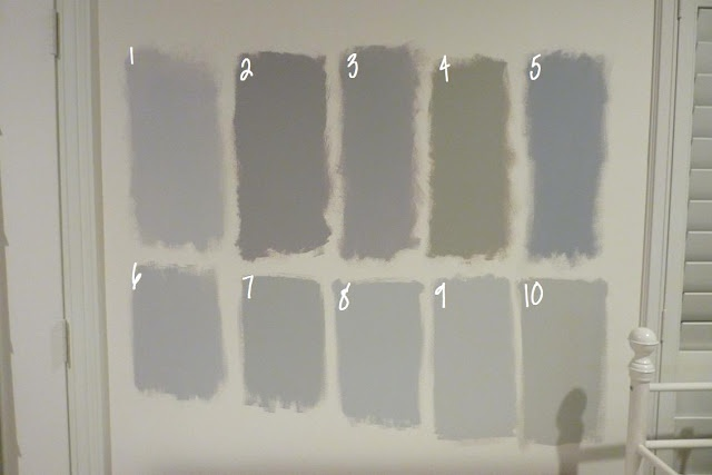 In case you are looking for a gray, here are the colors (all Benjamin Moore):    1.  Metro Gray  2.  Stormy Monday  3.  Silver Dollar  4.  Silver Fox   5.  Pigeon Gray  6.  Silver Chain  7.  Smoke Embers   8.  Stonington Gray- WINNER  9.  Nimbus  10. Revere Pewter
