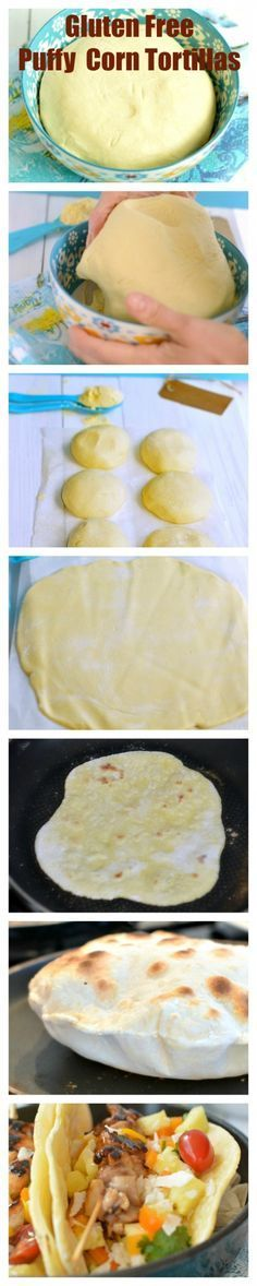 Gluten Free puffy Corn Tortillas. Super simple recipe made with only 3 ingredients. #glutenfree