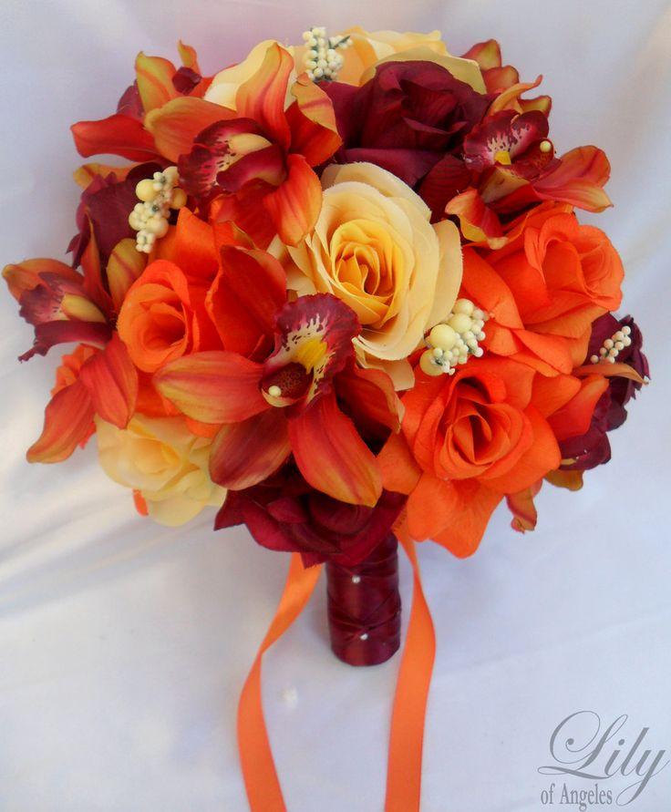 Orange Wedding Bouquets   17pcs Wedding Bridal Bouquet Set Decoration Silk Flower YELLOW ORANGE ...