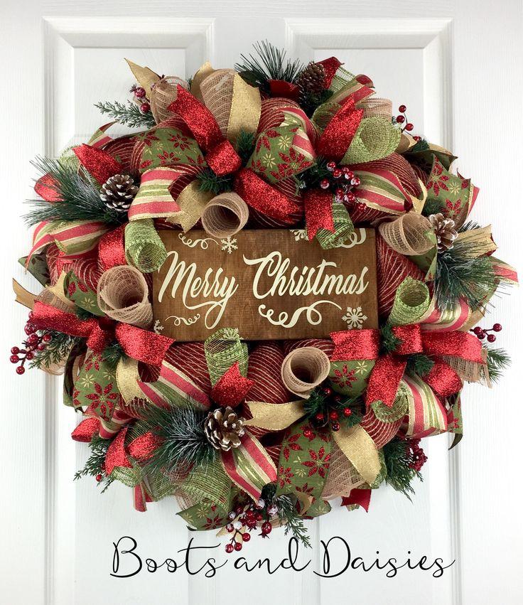Christmas Mesh Wreath For Front Door / Christmas Door Decor / Winter Mesh  Wreath / Holiday