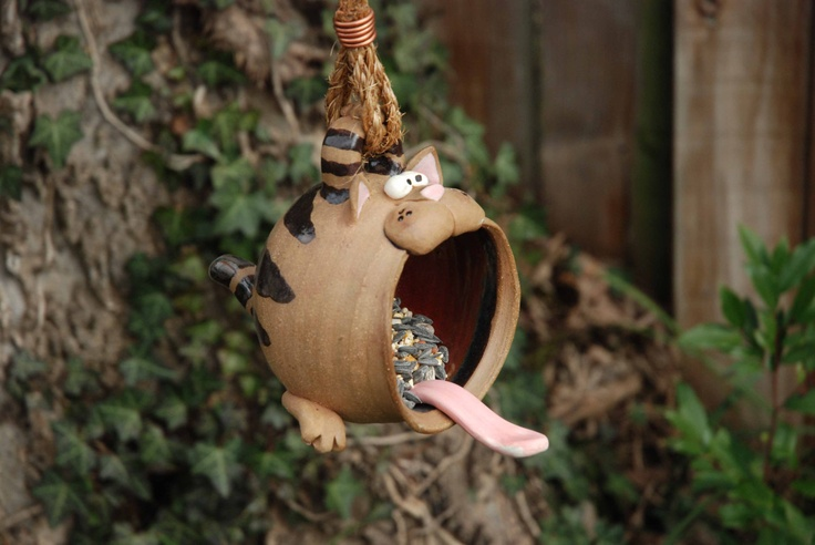 Tabby Cat disguised as a Small Bird Feeder. $65.00, via Etsy.