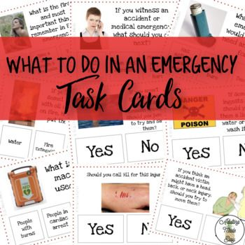 56 Task Cards on common emergencies. Basic strategies & safety tips for natural disasters like earthquakes, floods, tornadoes, storms, extreme temperature, fires, drowning, active shooters, and more. Print, laminate, cut for long term use. Use clothes pins or
