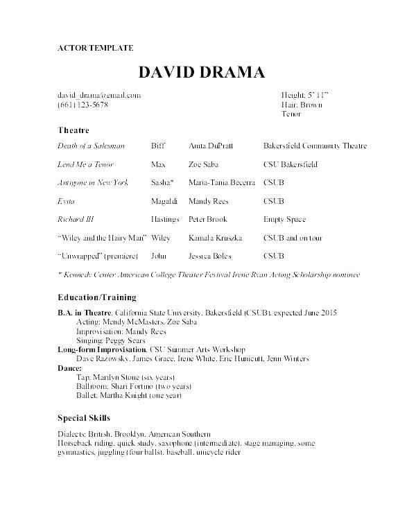 Resume Free Samples Theatre Template Actor Sample Acting Resumes