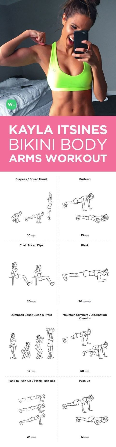 Arm Workout Do your arms need some love? Kayla Itsines is here to help with a workout that will leave them sore (but a good sore!) for days.