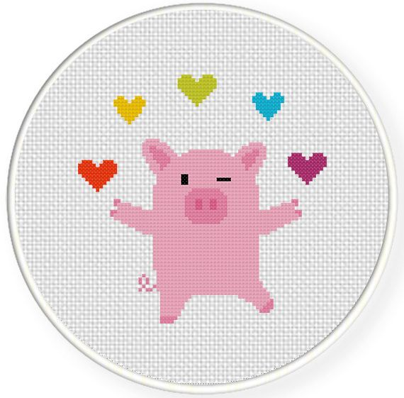 Free PDF Cross Stitch charts | Charts Club Members Only: Piggie Juggler Cross Stitch Pattern